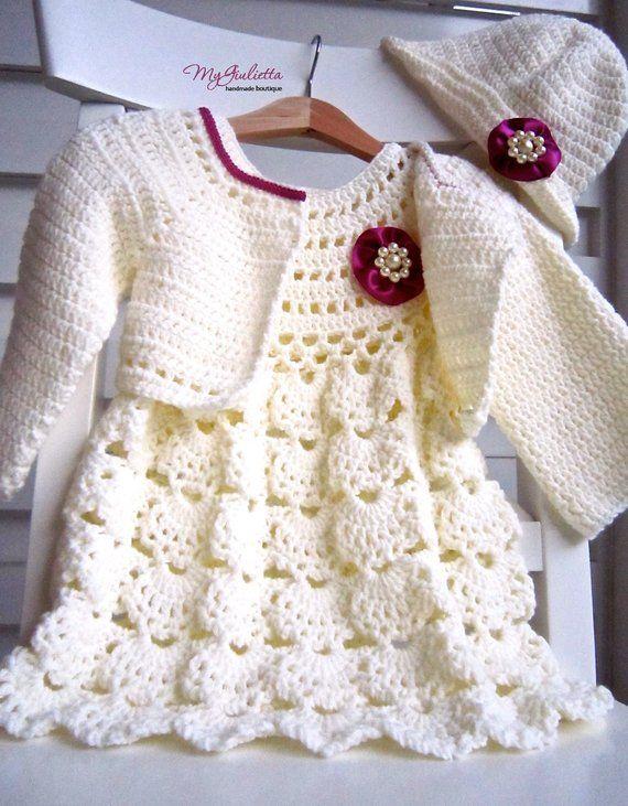 Cream Plum Baby Dress Baptism Gifts Newborn Bolero Jacket Baby Dress ...