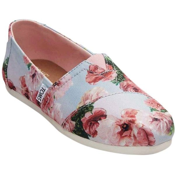 TOMS Women's Floral Slip-On Espadrille - Size 10 ($35) ❤ liked on Polyvore featuring shoes, sandals, multi, cap toe shoes, floral espadrilles, floral print shoes, floral print sandals and slip on sandals