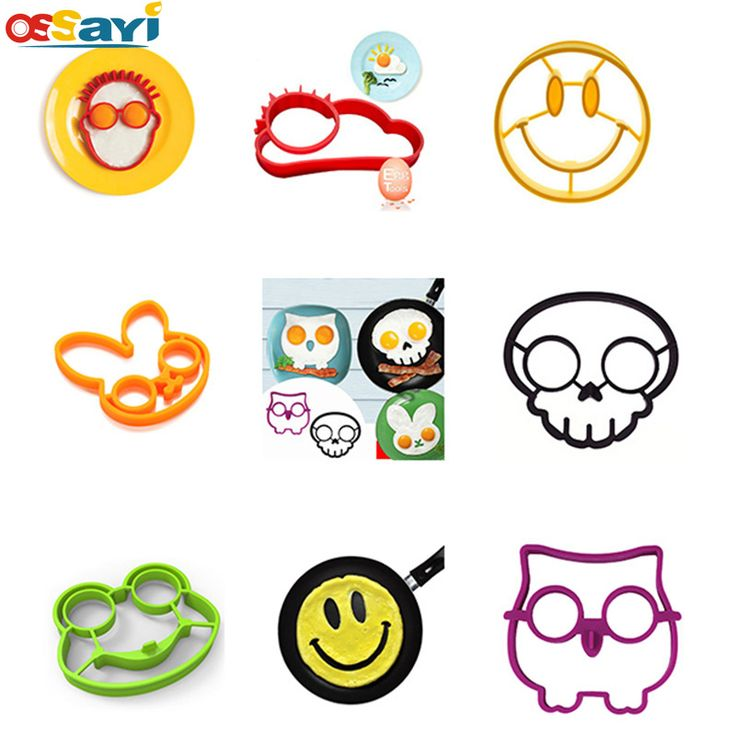 7 Style DIY Owl Rabbit Silicone Fried Egg Mold Ring Cooking Kitchen Tools Breakfast Sun Frog Emoji Omelette Egg Mould Tools