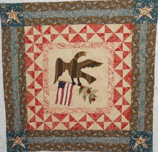 Americana: Cabin Quilter, Quilt Block, Antique Quilts, Quilted Eagles, Log Cabins, Eagles Patriotic, June 2011, Blue Quilts, Eagle Quilts