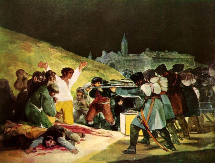 Goya, fusilamiento del 3 mayo de 1808, oleo sobre tela. España. Romanticismo.