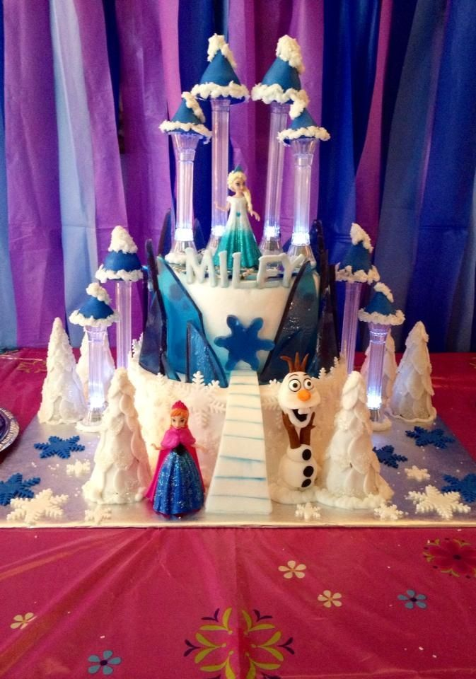 Disney S Frozen Ice Castle Cake With Anna Elsa And Olaf