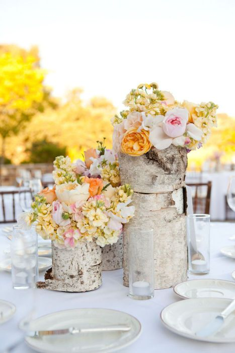 Flower Centerpieces with birch bark