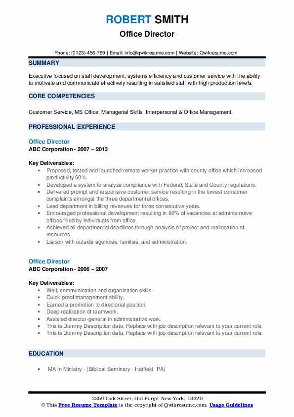 Office Director Resume Samples Resume Sample Resume Templates Core Competencies