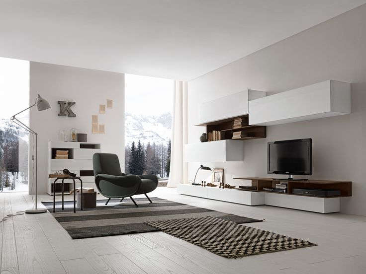 Presotto base and wall units in bianco candido color for Color tabacco mobili