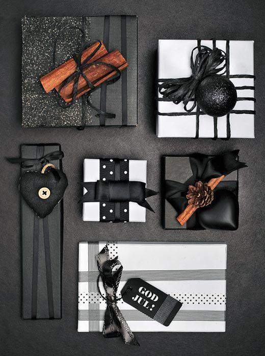 Karácsonyi csomagolás és dekor inspiráció fekete-fehér imádóknak