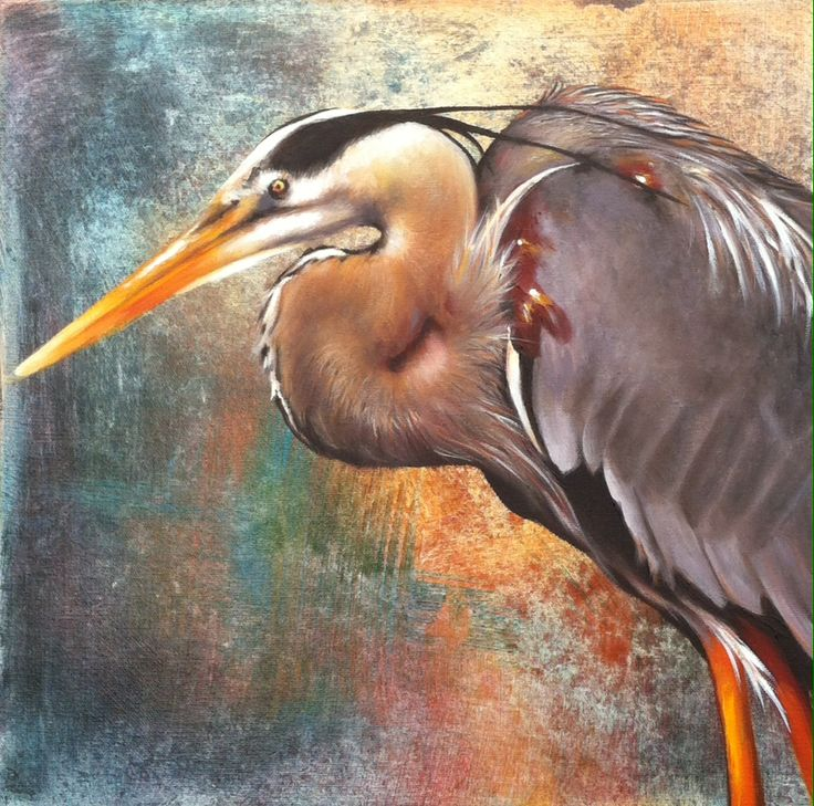 Painting of a blue heron painted on a layered acrylic background.