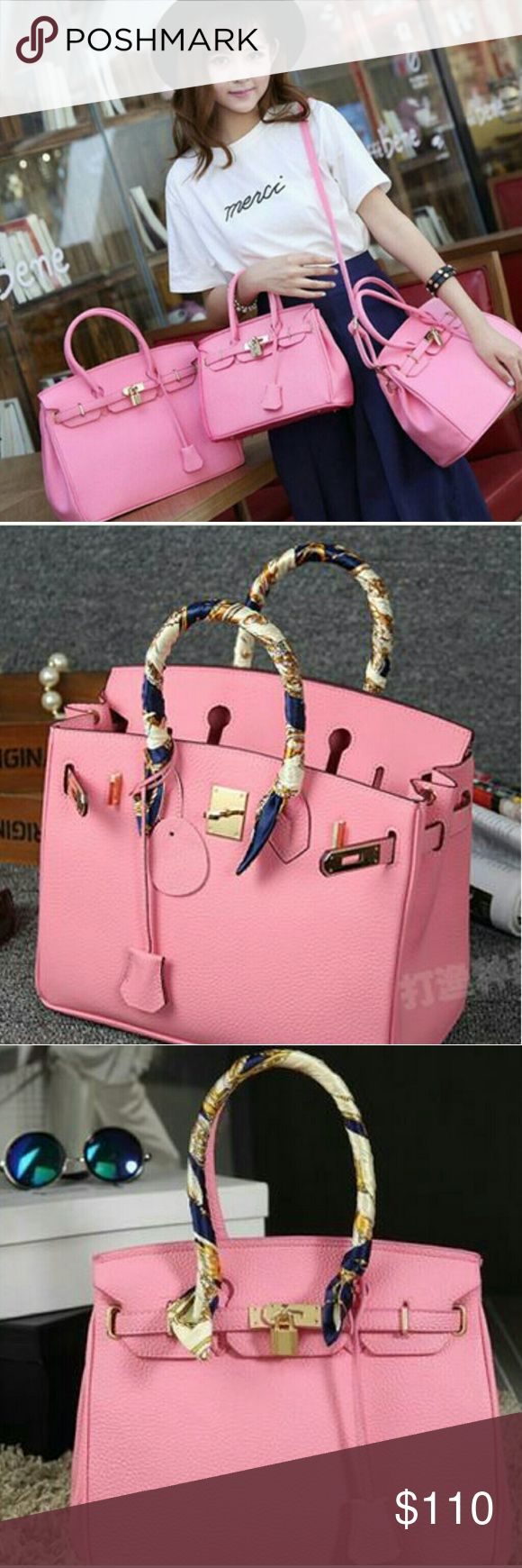 Bubblegum  Pink Berkin Style Handbag This style is like Berkin no brand name  very cute with the color of bubble gum pink.. Color:Pink  Size:Length '9 x Width '12 Materials: PU leather Bags Crossbody Bags
