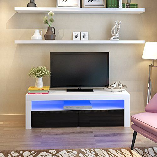 Panana Modern Designs Living Room Furniture LED TV Stand with LED Storage Cabinet Extra Large Unit (157*35*50 cm, White+Black) #Panana #Modern #Designs #Living #Room #Furniture #Stand #with #Storage #Cabinet #Extra #Large #Unit #White+Black)