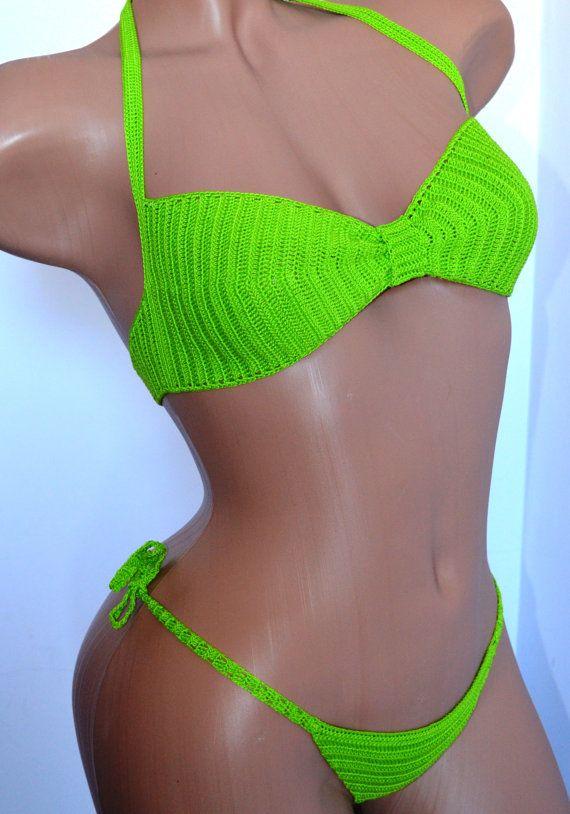 Lace Bikini - Lettuce Green Swimsuit - Crocheted Handmade