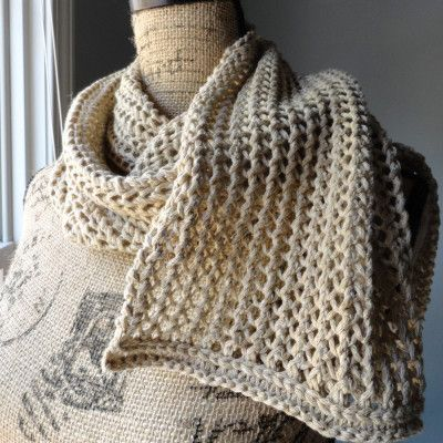 Free Knitting Patterns Scarves Pinterest : Free Knitting Pattern Rustic Ribbed Mesh Scarf knit - scarf Pinterest P...
