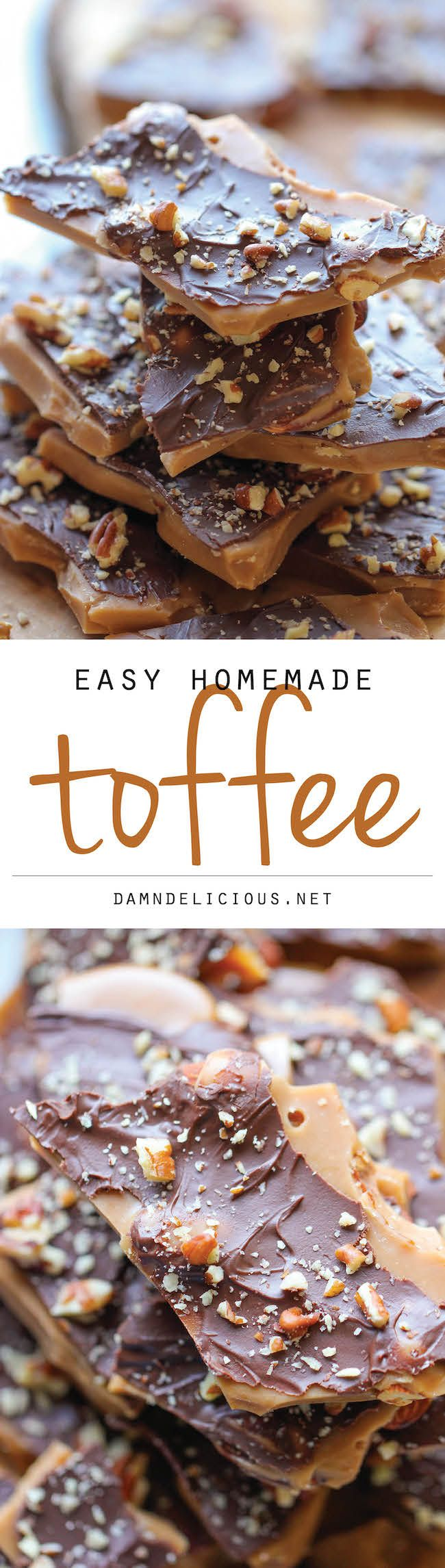 Easy Homemade Toffee - An unbelievably easy, no-fuss, homemade toffee recipe. So…