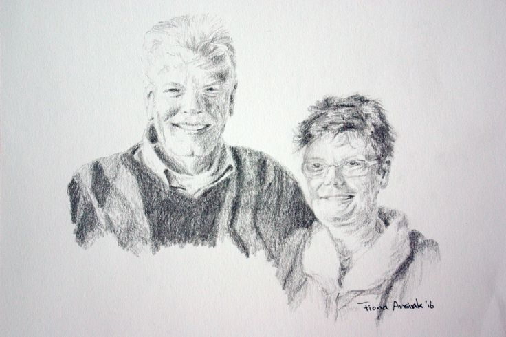 Pencil drawing of family members