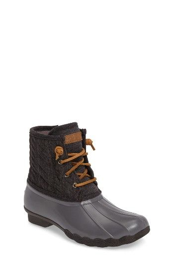 Free shipping and returns on Sperry Kids Saltwater Duck Boot (Toddler, Little Kid & Big Kid) at Nordstrom.com. Your little one will makewaves with confidence in these weather-resistant boots that stylishly protect little feet from the rain and slush. Microfleece lining and a siped, lugged sole provide warmth and superior traction.