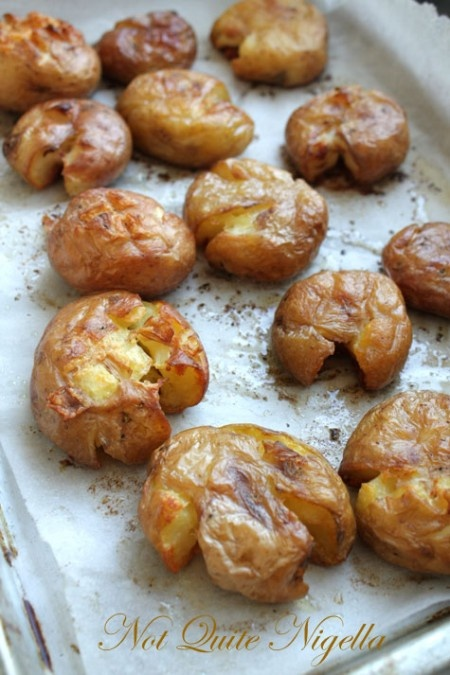 Side: smashed potatoes with rosemary