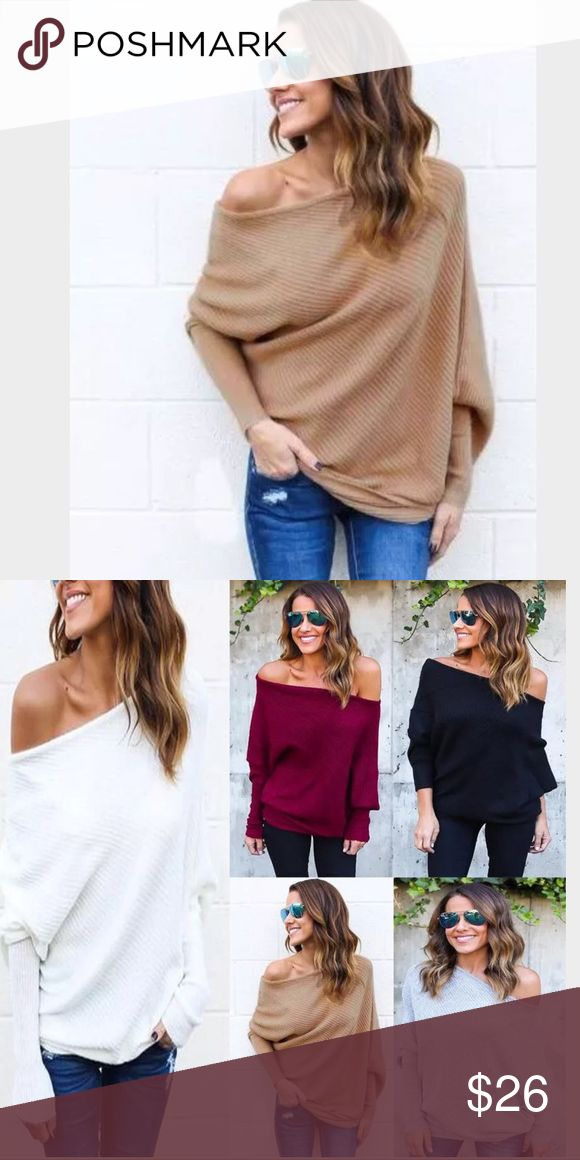 🆕 Sand Dune Off Shoulder Batwing Pullover Top Ribbed Batwing knit oversized 96% polyester, 4% cotton top. Please note this scoop neck can be stretched to wear off one shoulder. If you want both shoulders bare, order up one size. The fabric is stretchy. Small (4), Medium ( 6), Large (8) XLarge (10). Tops