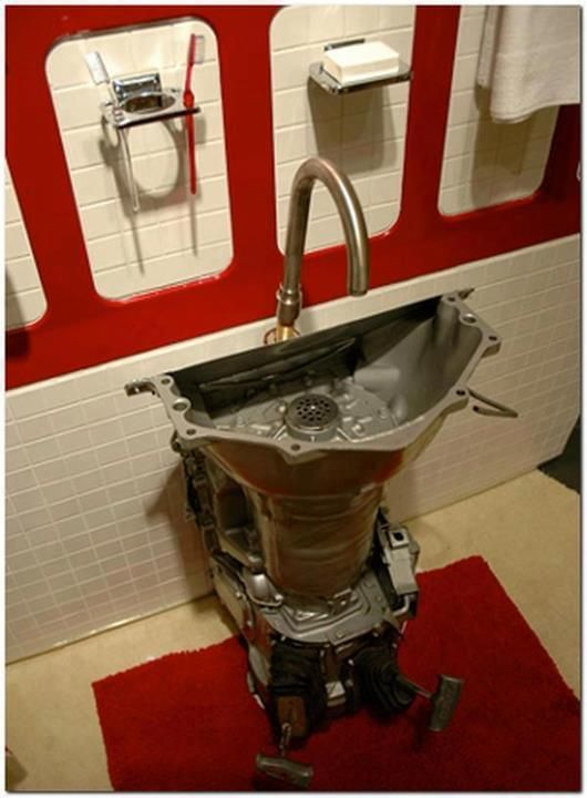 Great idea for the man cave or shop, car transmission, bathroom sink, creative
