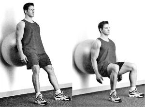 wall squats  swissball wall squat  health and fitness