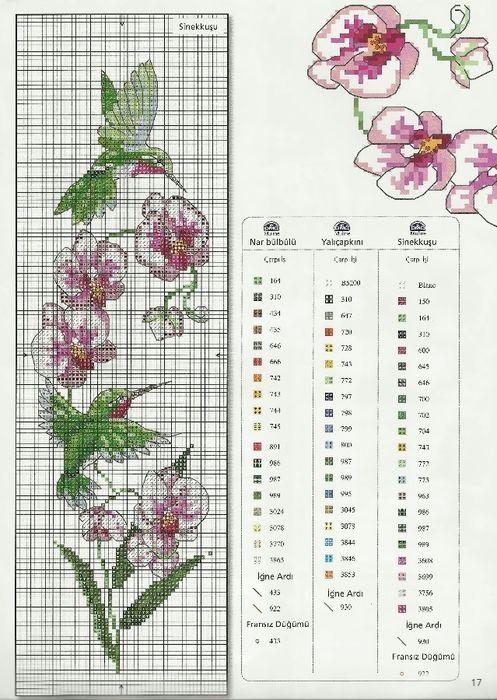 orchid hummingbird cross stitch