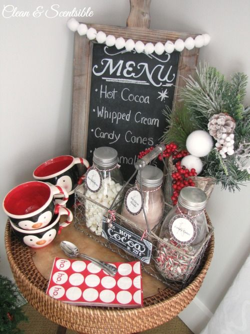 Make your own Candy Cane Hot Cocoa Bar for any get together you host at your home this season! I ADORE this idea from @Jennifer @ Clean and Scentsible and think I need a Hot Cocoa Bar in my home ASAP. /ES