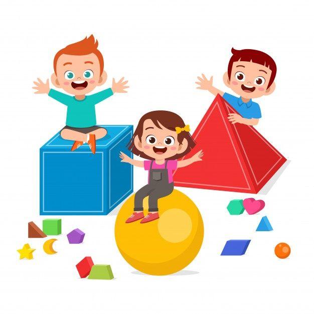 Happy Cute Kids Play Learn 3d Geometry Kids Playing Cute Kids Art Drawings For Kids