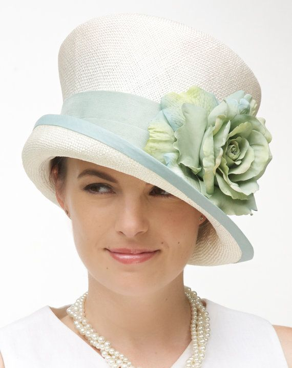Kentucky Derby Hat, Wedding Hat Church Hat Formal Hat,Cream Hat Cloche, Dressy Summer Hat  Garden Party Tea Party Hat, Flower Hat, Green Hat