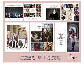 Instagram Template Set, Senior Photography, Photoshop Templates, Social Media Marketing, SMM100, INSTANT DOWNLOAD