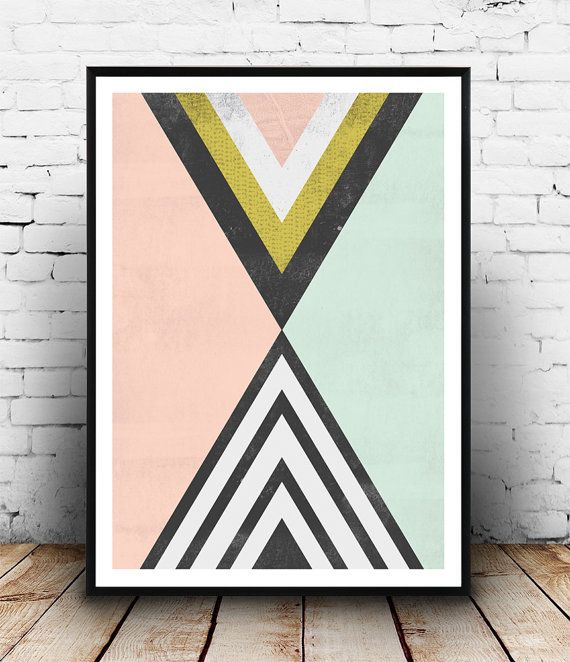 Geoemtric abstract, watercolor print, Abstract print, Triangles print, pink…