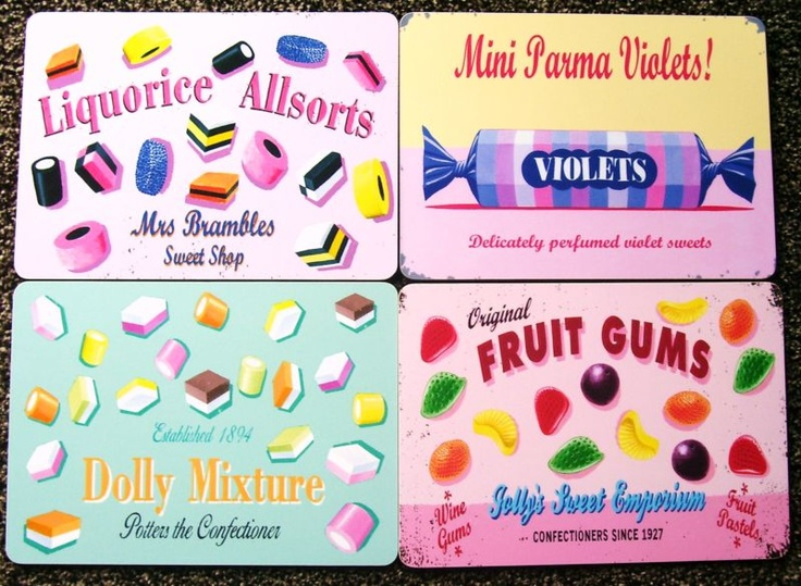 Martin Wiscombe Retro Placemats Www Ditsy Daisies Co Uk Liquorice Allsorts Fruit Gums Vintage Posters
