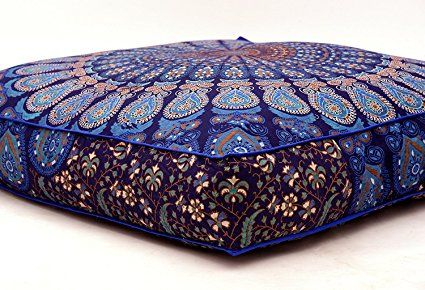 Pavimento meditazione cuscino di 88,9x 88,9cm pollici Feather mandala indiano pouf cuscino Dog Outdoor divano letto bambini Teen Floor Pillow