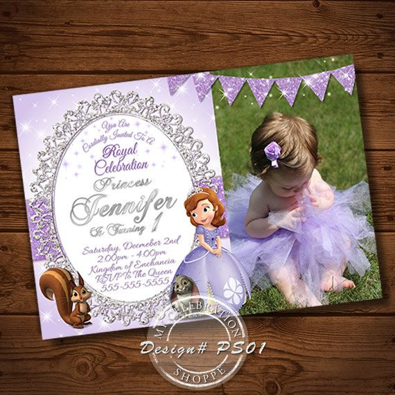 PRINCESS SOFIA, Invitation, Princess Sofia Invitation, Purple Invitation, Princess, Glitter, Princess Invitation, Printable Invitation, Diy