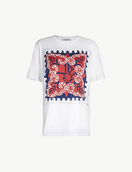 90b2288c1 VALENTINO Bandana-print cotton-jersey T-shirt | Personal favourite ...