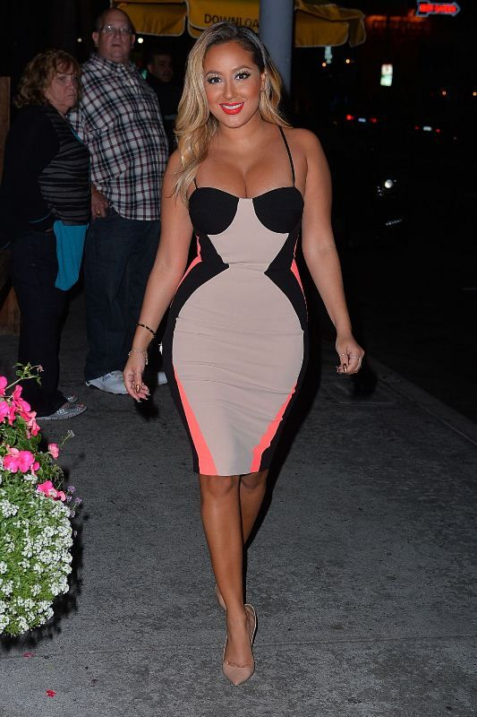 Splurge: Adrienne Bailon's Aventine Restaurant House of CB Pink, Nude, and Black Stretch Crepe Dana Pencil Dress. www.FashionPLX.com You can follow world's all fashion blogs in one website. Repin not to forget!