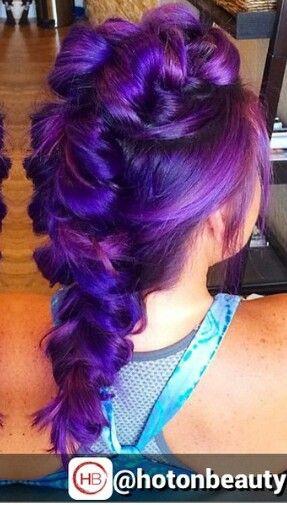 braided purple dyed hair
