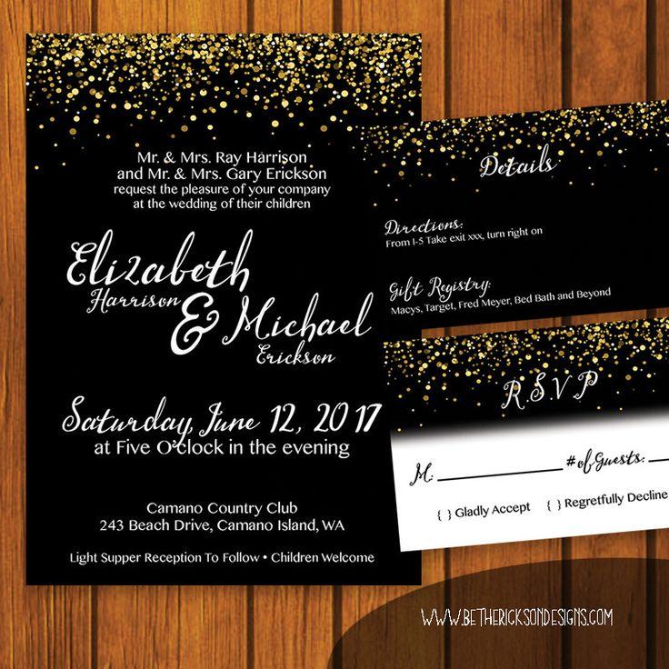 Formal Wedding Invitation / Black, White, Gold Wedding Suite / Gold Glitter / Invitation Suite / Formal / Traditional / Wedding by bethannerickson on Etsy