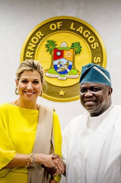 Queen Maxima visits Governor Akinwunmi Ambode at his office on October 31, 2017 in Lagos, Nigeria.