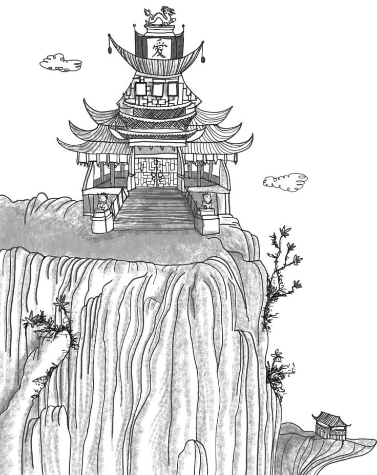 A Chinese palace: From 'The Adventures of Prince Camar and Princess Badoura', Book 1 of the Arabian Nights Adventures series published by Harpendore. Stories retold by Kelley Townley. Illustrations by Anja Gram. Copyright © Harpendore Publishing.