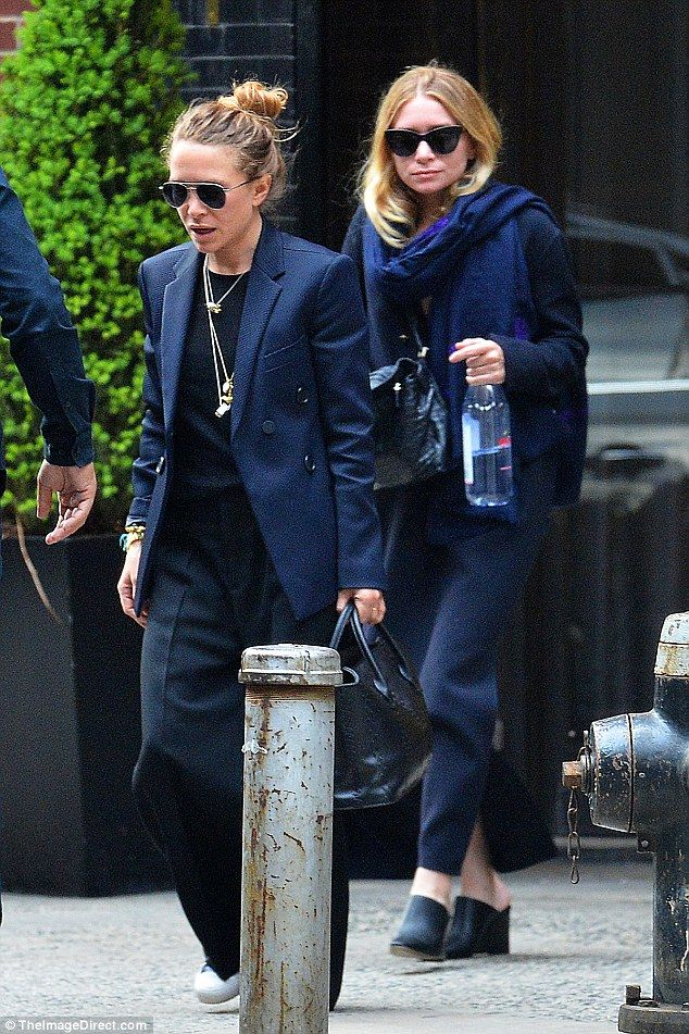 Matching style: The 30-year-old former stars of Full House were in the navy, as they heade...