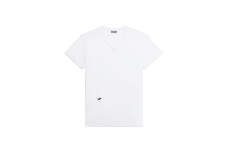 T-shirt Col v, coton blanc, broderie abeille noire - Prêt-à-porter Dior