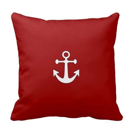 Red Navy Reversible Anchor Nautical Throw Pillow