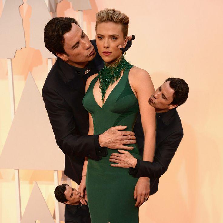 John Travolta Plants An Awkward Kiss On Scarlett Johansson And Births A New Meme