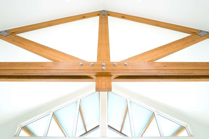 The Farm House. Internal detail. Exposed roof trusses.