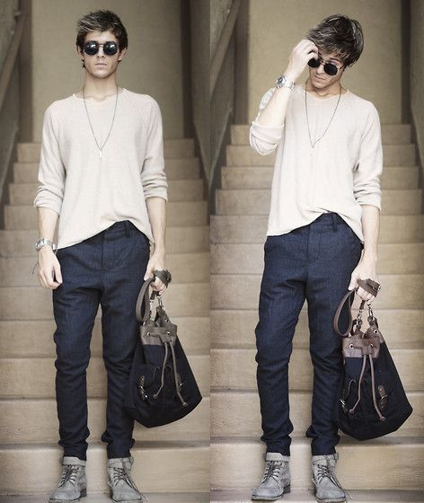 Watch, Necklace, H&M Knit, Topman Trousers, All Saints Boots, Zara Bag, American Apparel Glasses