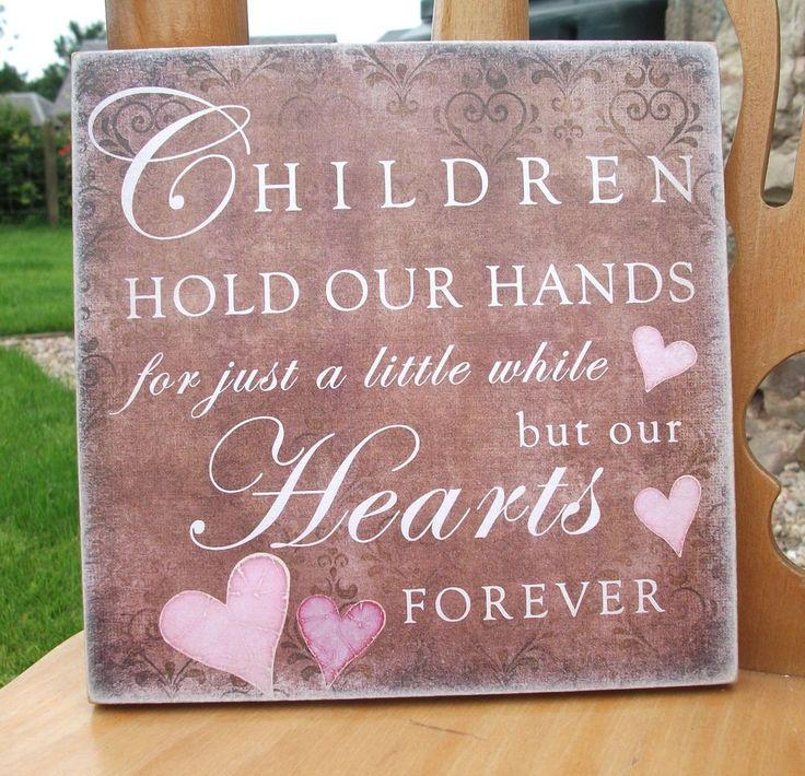 Children hold hands little while, hearts forever, love, HANDMADE plaque, family