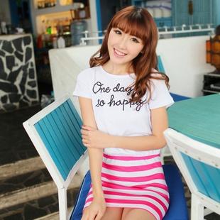 FASHION2013实拍新款经典夏装韩版拼色修身条纹连衣裙公主裙-淘宝网