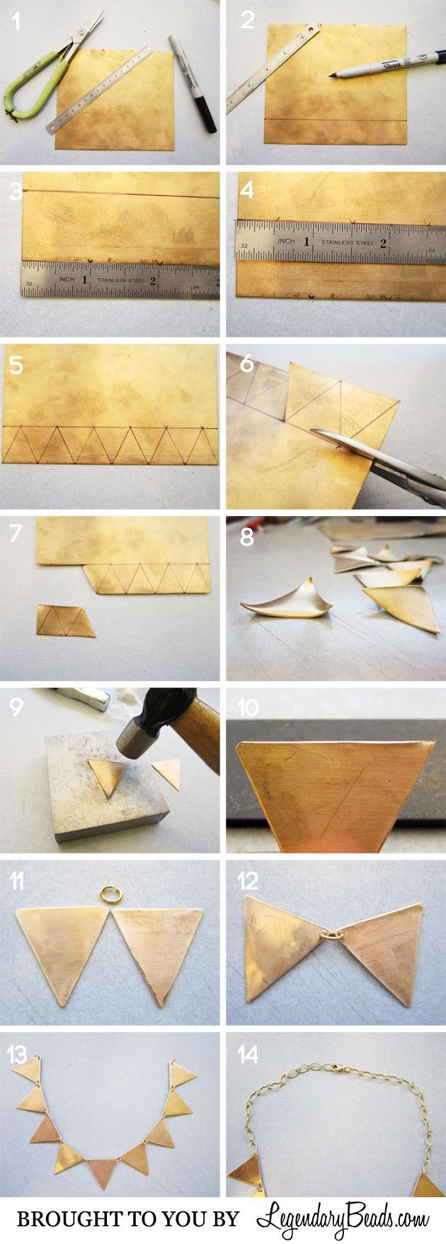 Geometric Necklace Instructions: DIY, Free tutorial - Collana geometrica in ottone