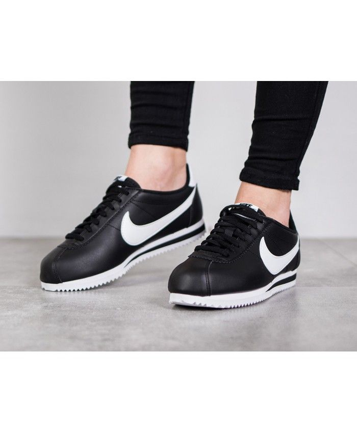 173b6393395ec Nike Classic Cortez Leather Black White Trainers Outlet UK