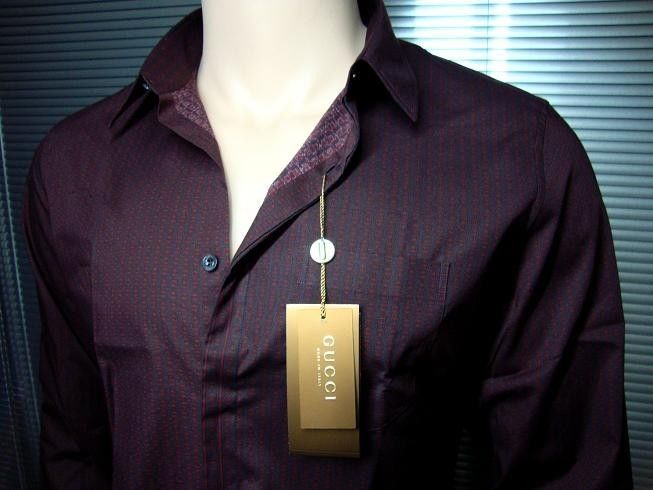 $628 GUCCI LUXURY FINEST SELECTION SHIRT (A58)  sz. 43 / 17