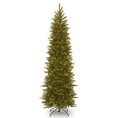 Artificial Christmas Trees 117414: 7.5 Ft. Feel-Real Grande Fir Hinged Pre-Lit Slim Christmas Tree, Green -> BUY IT NOW ONLY: $144 on eBay!
