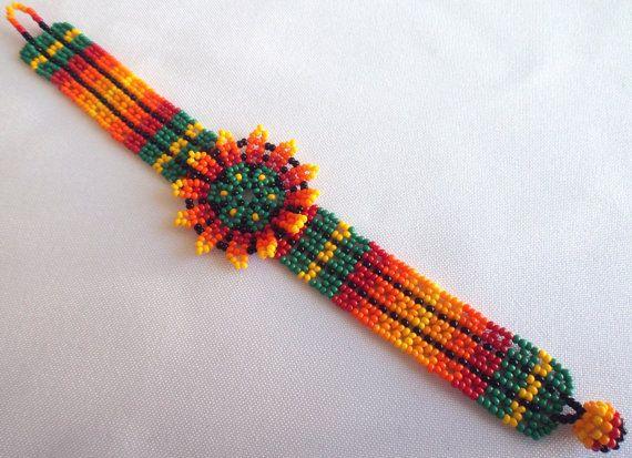 Huichol Beaded Flower Bracelet by Aramara on Etsy